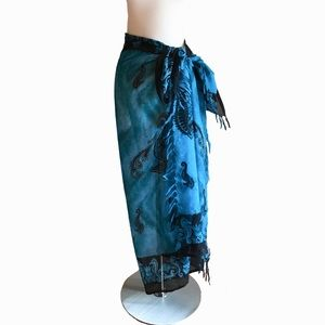 Ocean Blues & Black Seahorse Fringed Wrap Sarong